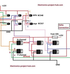 three phase inverter circuit diagram diy electronics projects electrical diagram of a threephase inverter that uses six transistors [ 1360 x 765 Pixel ]