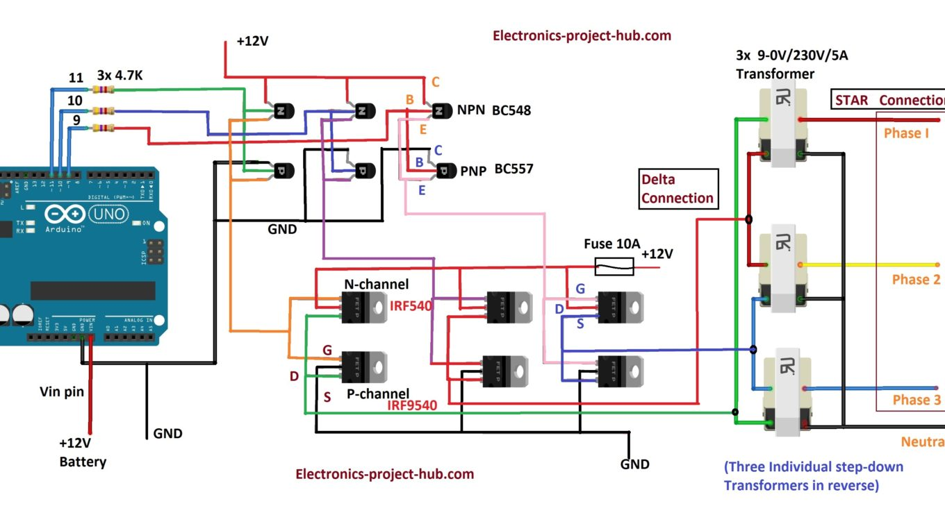 hight resolution of three phase inverter circuit diagram diy electronics projects electrical diagram of a threephase inverter that uses six transistors