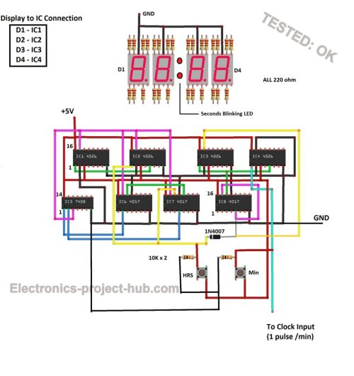 small resolution of digital clock using ic 555 nad ic 4017