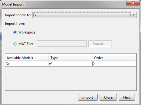 importing plant transfer function from workspace
