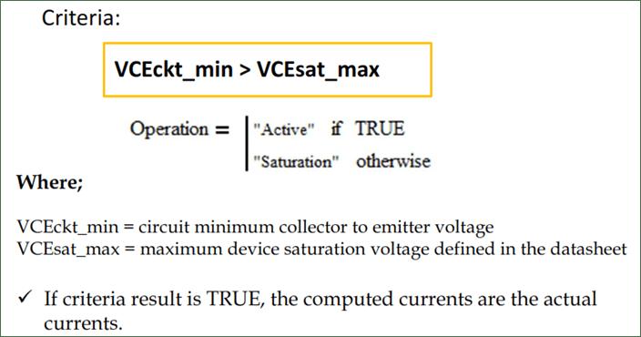 Transistor Operation Mode using linear method