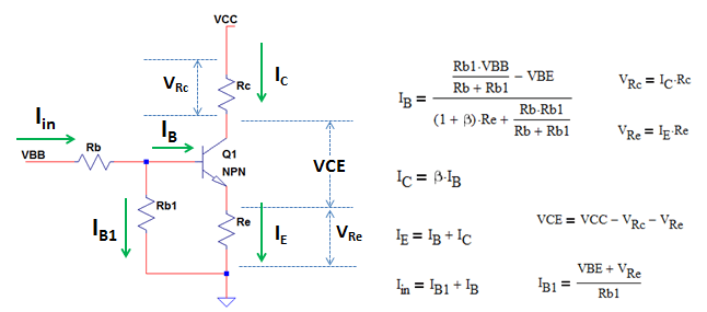 derive equations for NPN transistor voltage divider bias