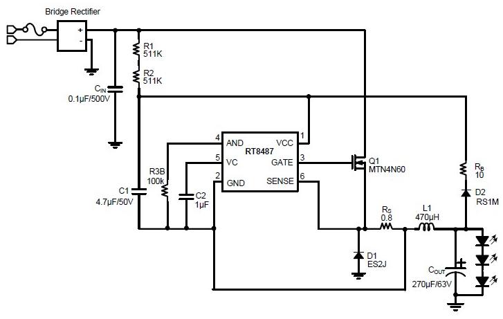 high voltagae buck LED driver circuit