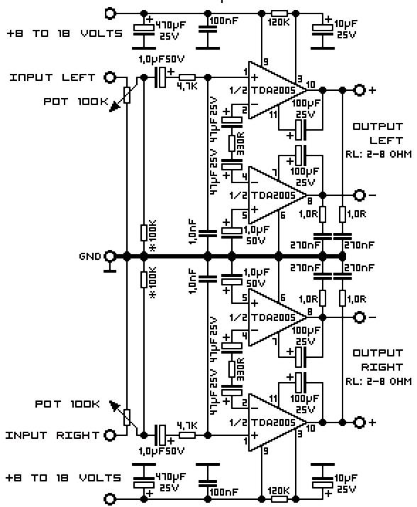 2 x 100w stereo power amplifier with stk4231ii electronic20 watt stereo audio amplifier using tda2005