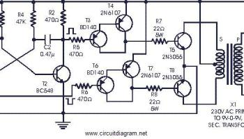power inverter 60w 12v dc to 230v ac using 2n3055
