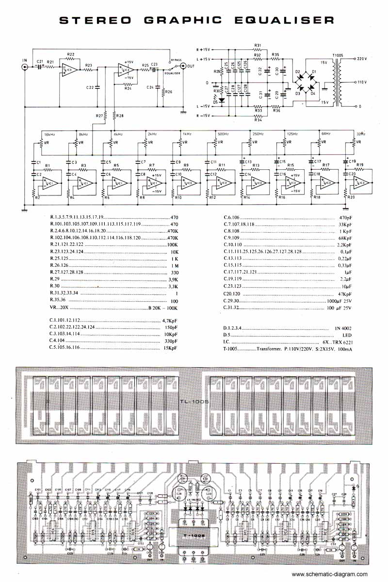 hight resolution of 2 x 10 band stereo graphic equaliser electronic schematic diagram 2x10 band stereo graphic equaliser circuit diagram