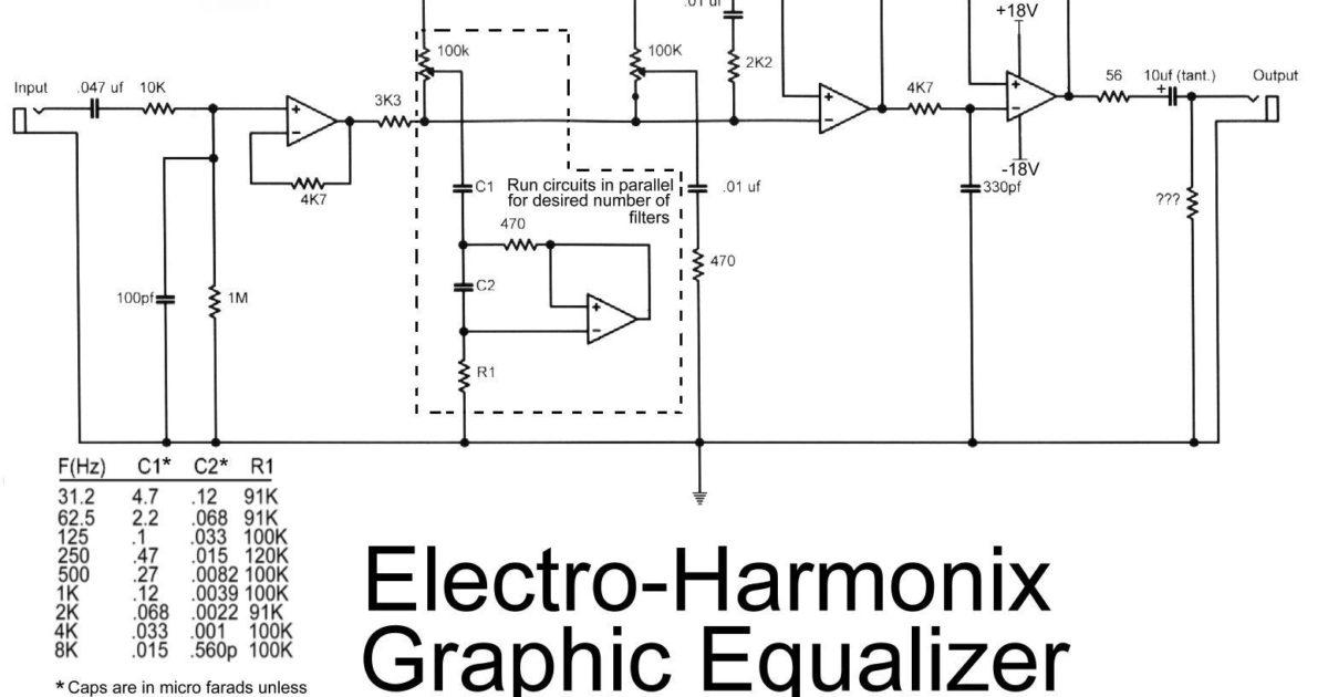 Electro harmonix graphic equalizer circuit