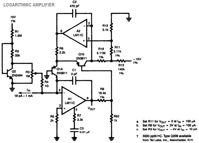logarithmic amplifier lm11c circuit diagram