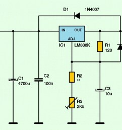 variable adjustable dc power supply 1 2v 25v using lm338k electronic schematic diagram [ 1394 x 588 Pixel ]