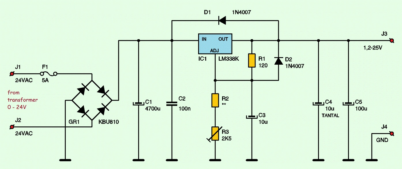 hight resolution of variable adjustable dc power supply 1 2v 25v using lm338k electronic schematic diagram