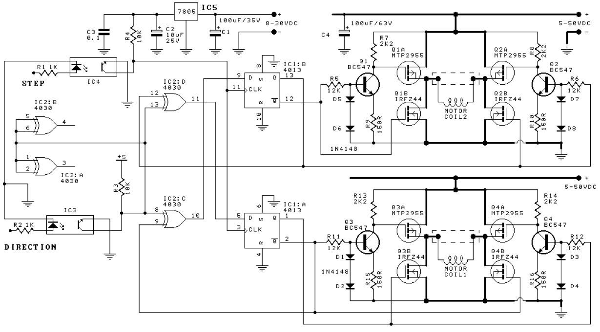 bipolar stepper motor with pic microcontroller circuit diagram