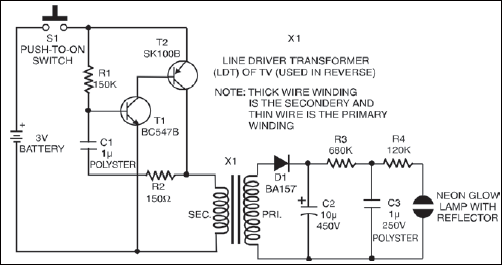 Light A Strobe Light Using Just Two Transistors Electronic Circuit