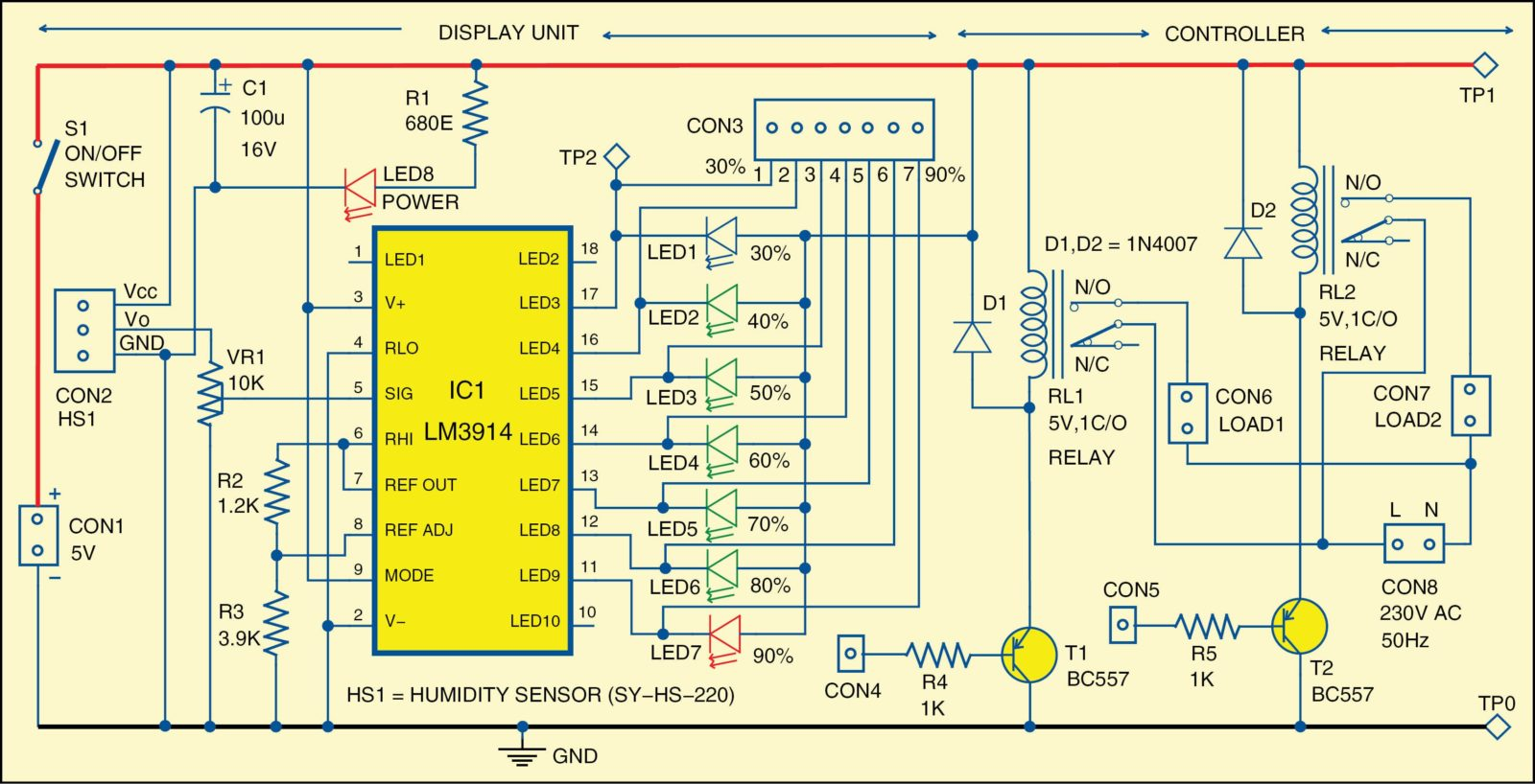 hight resolution of 1 circuit diagram of humidity indicator and controller