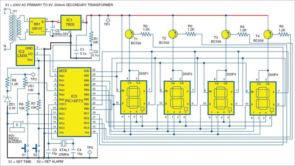 medium resolution of 1 pic projects circuit of the alarm clock cum temperature indicator