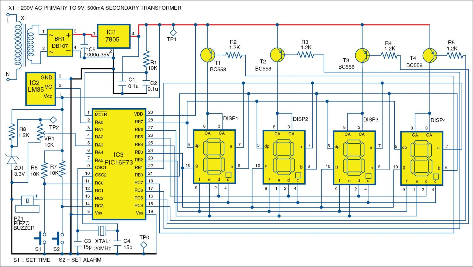 hight resolution of 1 pic projects circuit of the alarm clock cum temperature indicator