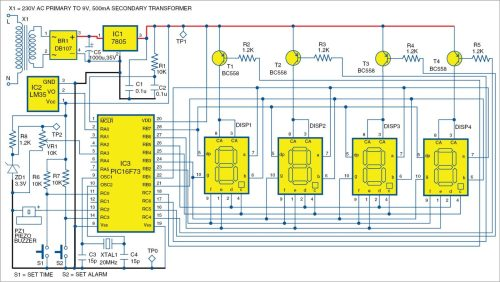small resolution of 1 pic projects circuit of the alarm clock cum temperature indicator
