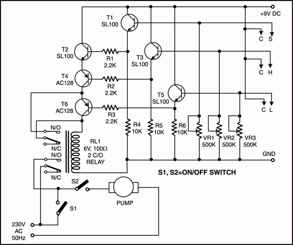 Automatic Water Level Controller Circuit Diagram For