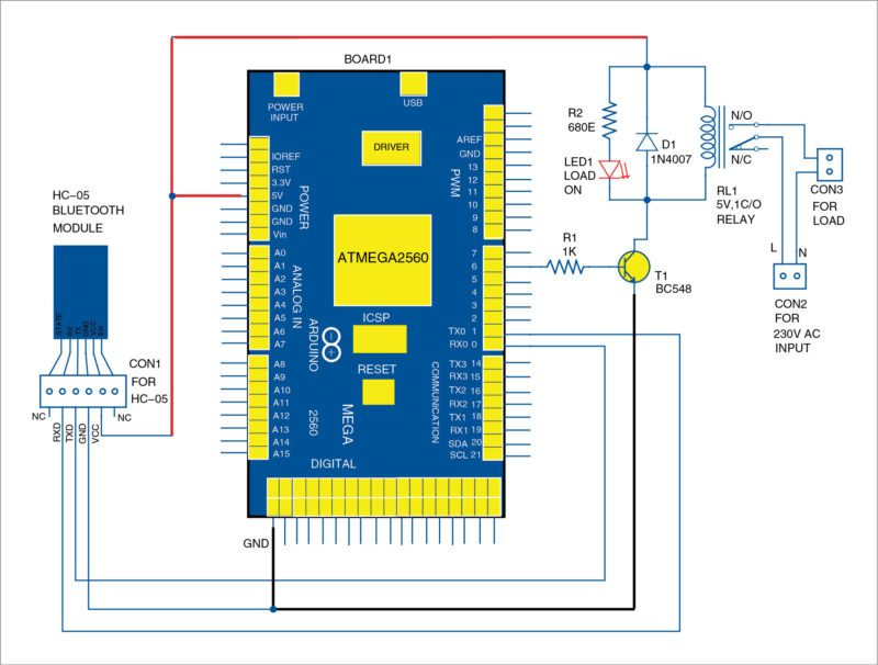 arduino mega 2560 circuit diagram 2000 mustang audio wiring voice controlled home automation system   app based