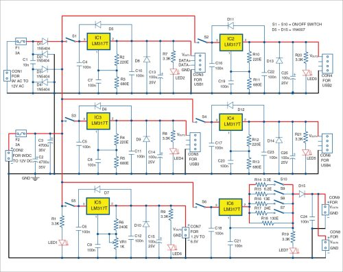 small resolution of circuit diagram of the power supply hub