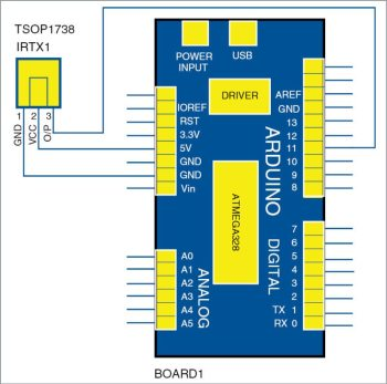 Circuit diagram of Arduino based Windows PC volume remote control
