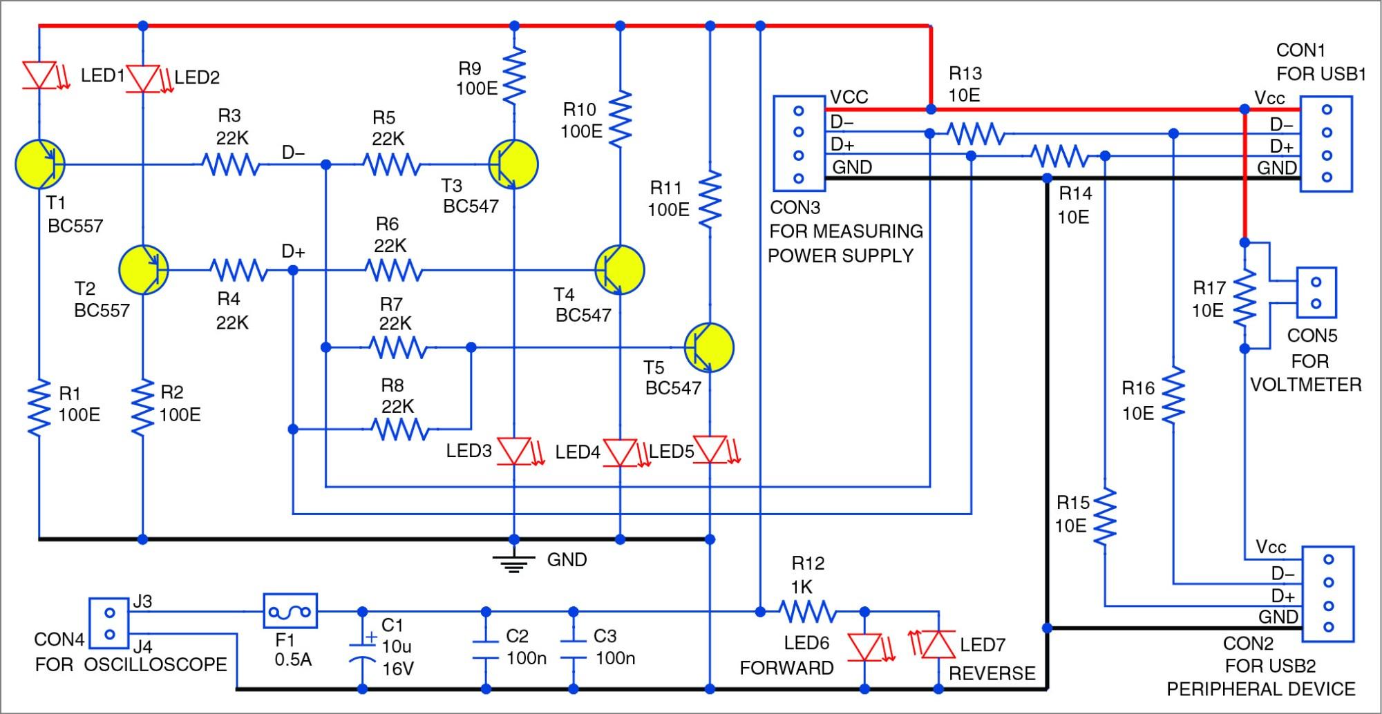 hight resolution of usb interface signal monitoring circuit