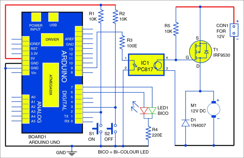 medium resolution of dc motor starter using arduino uno board