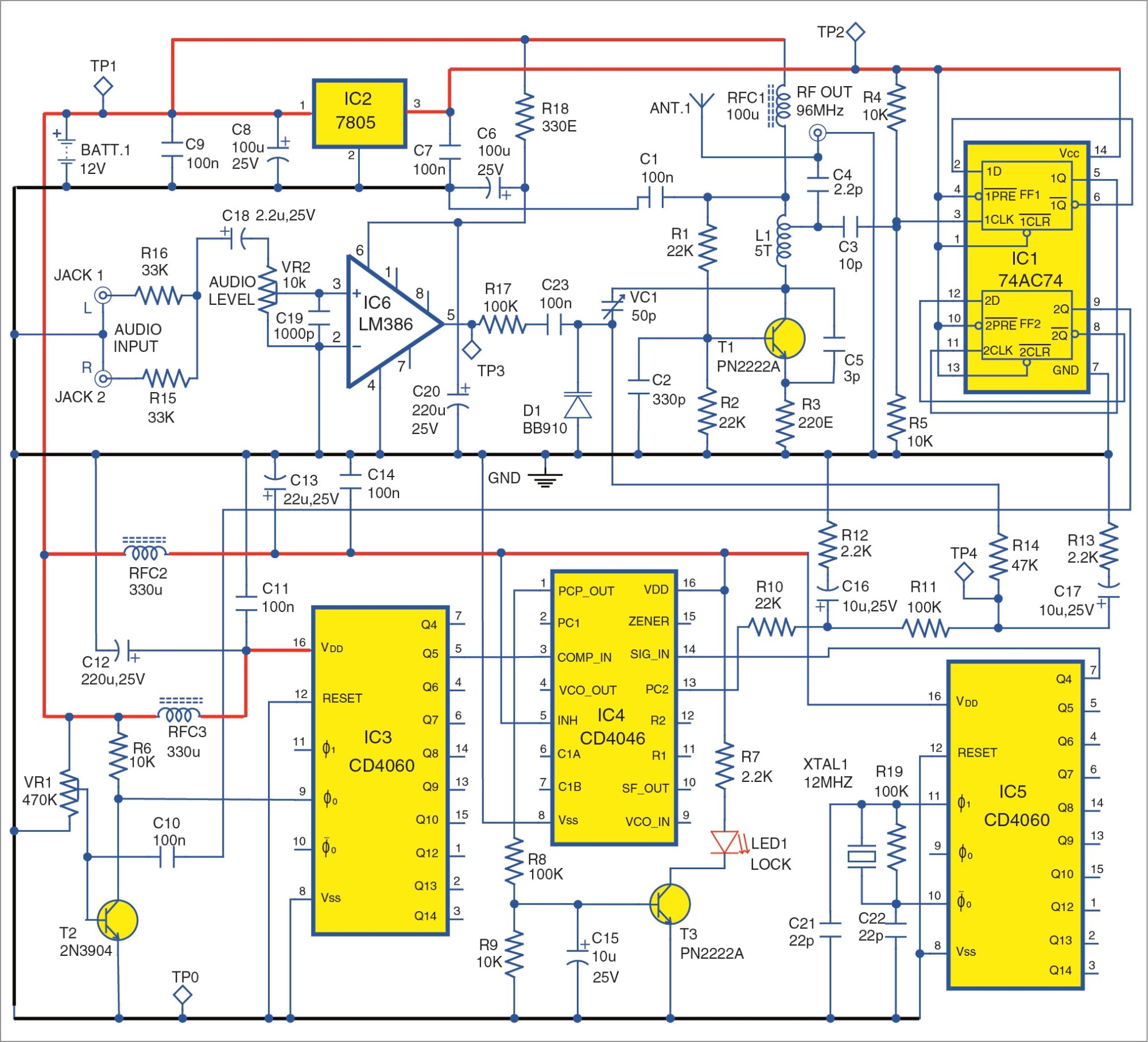 hight resolution of circuit of the high fidelity fm transmitter