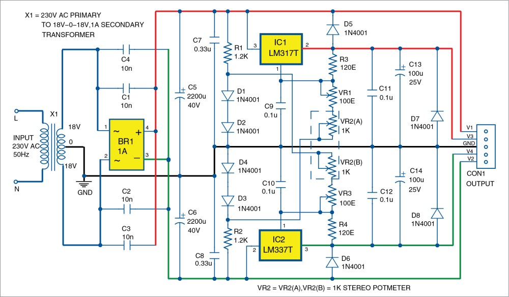 medium resolution of bipolar power supply with adjustable regulators