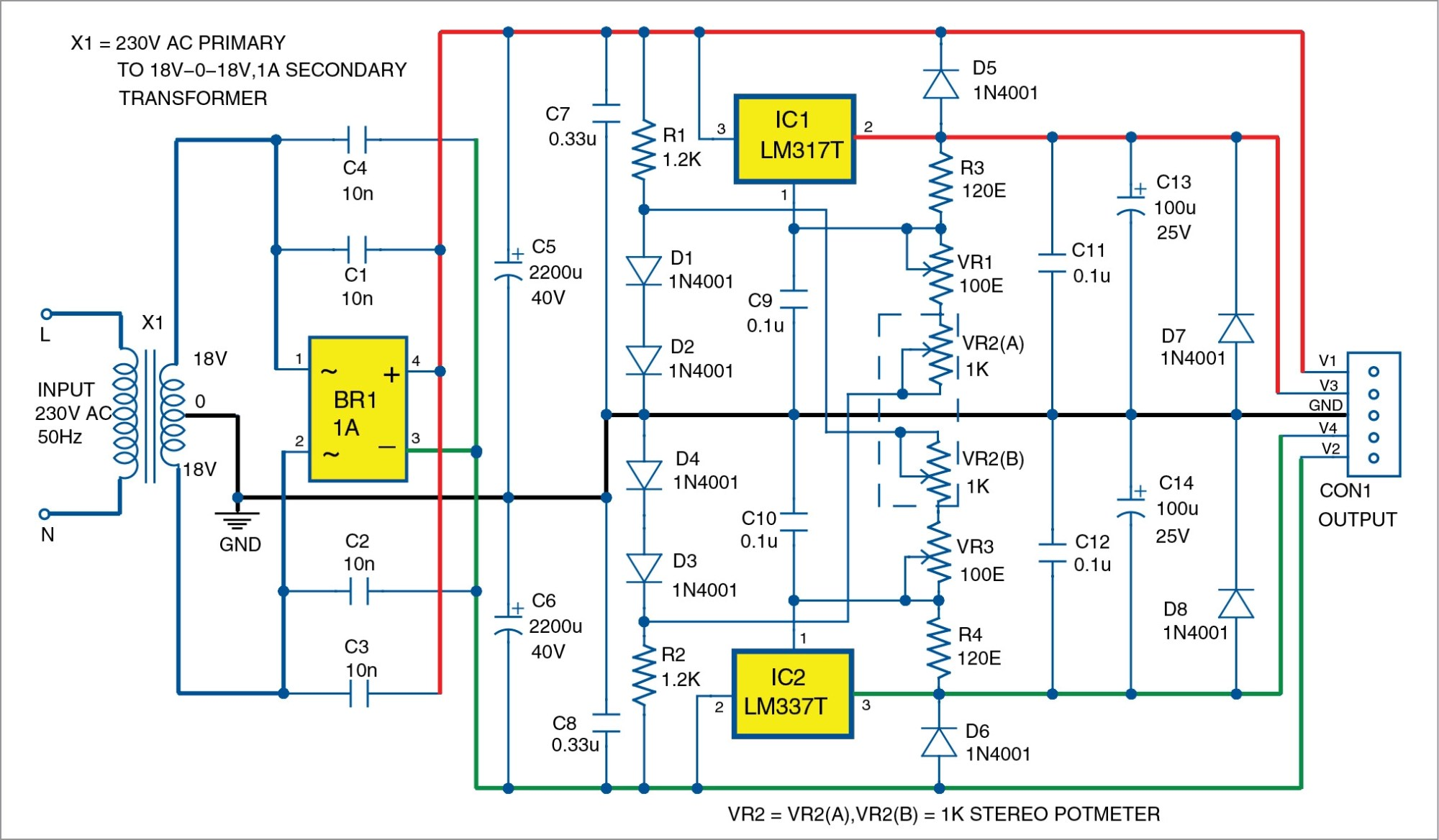 hight resolution of bipolar power supply with adjustable regulators