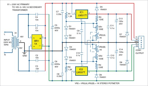 small resolution of bipolar power supply with adjustable regulators