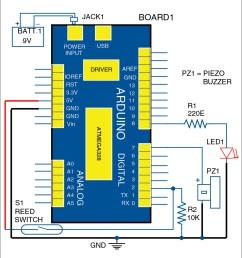 circuit diagram of arduino based visitor alarm [ 919 x 986 Pixel ]