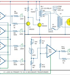 automatic light and overcharging control with voltage level indicator simplifiedvoltagelevelsensorcircuit diagram world [ 2471 x 1359 Pixel ]