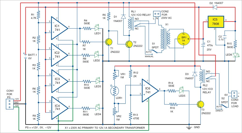 medium resolution of automatic light and overcharging control with voltage level indicator simplifiedvoltagelevelsensorcircuit diagram world