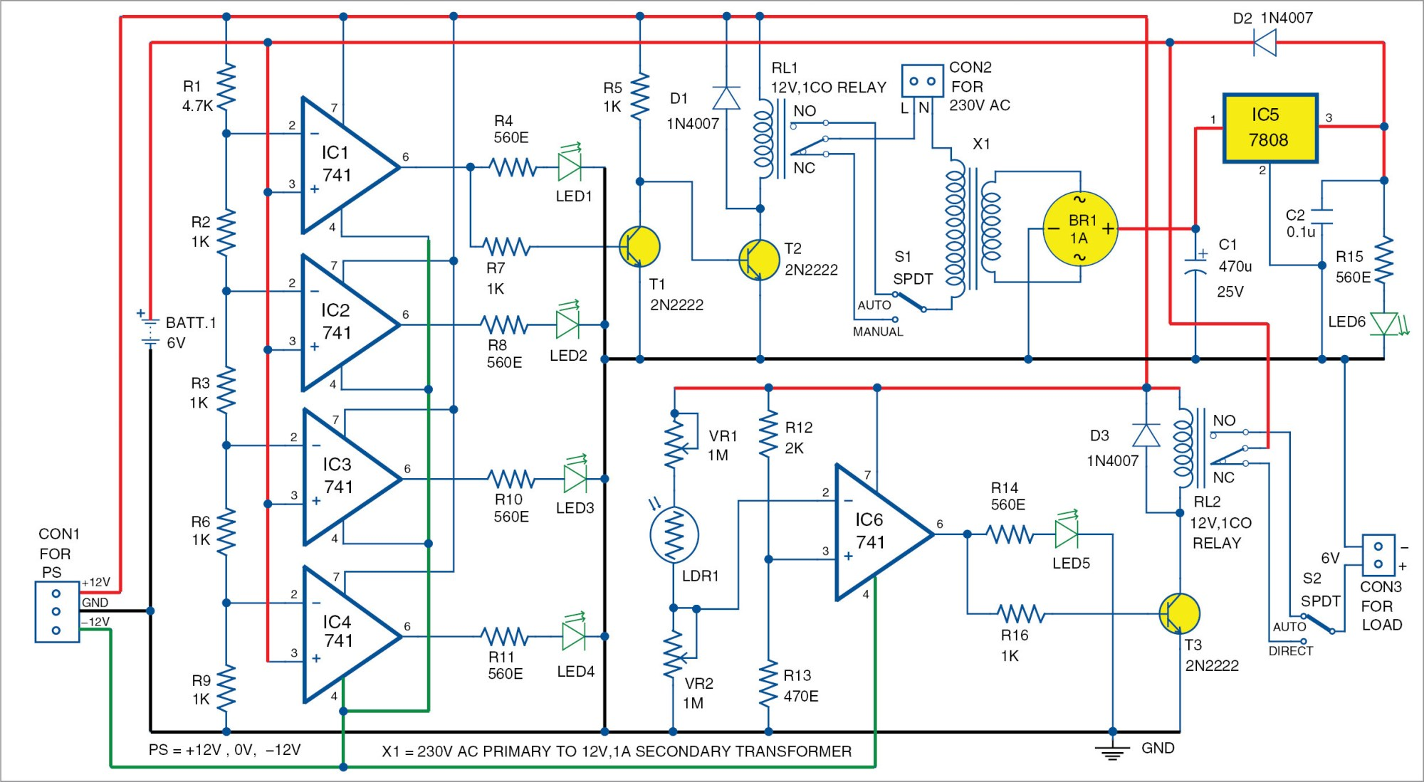 hight resolution of automatic light and overcharging control with voltage level indicator simplifiedvoltagelevelsensorcircuit diagram world
