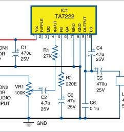 5 watt amplifier circuit diagram wiring diagram schematic 5 watt mono audio amplifier using ta7222 full [ 1331 x 762 Pixel ]