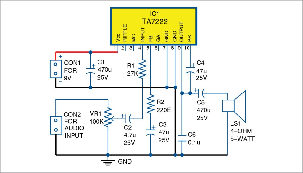 medium resolution of 5 watt amplifier circuit diagram wiring diagram schematic 5 watt mono audio amplifier using ta7222 full