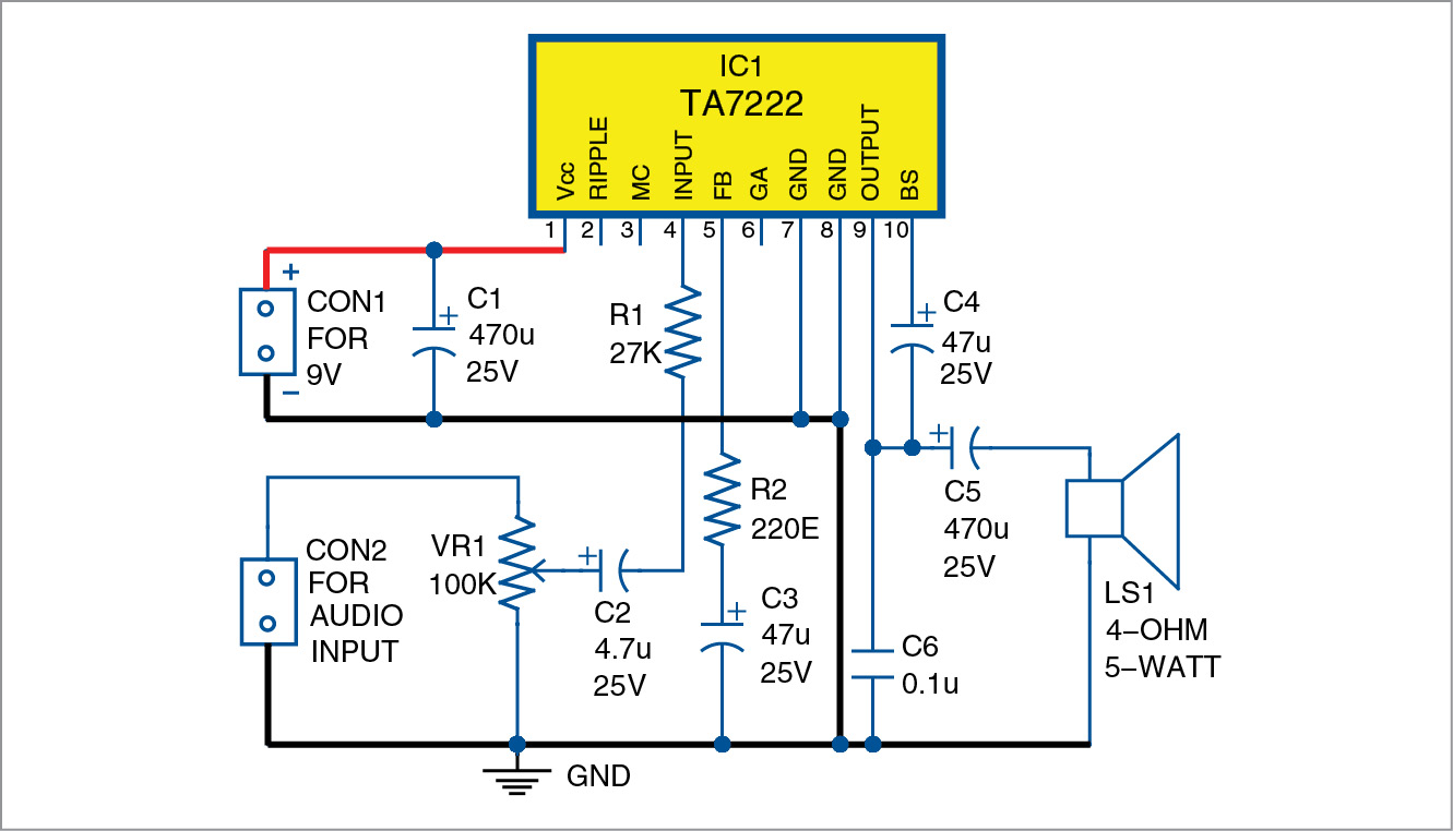 hight resolution of 5 watt amplifier circuit diagram wiring diagram schematic 5 watt mono audio amplifier using ta7222 full