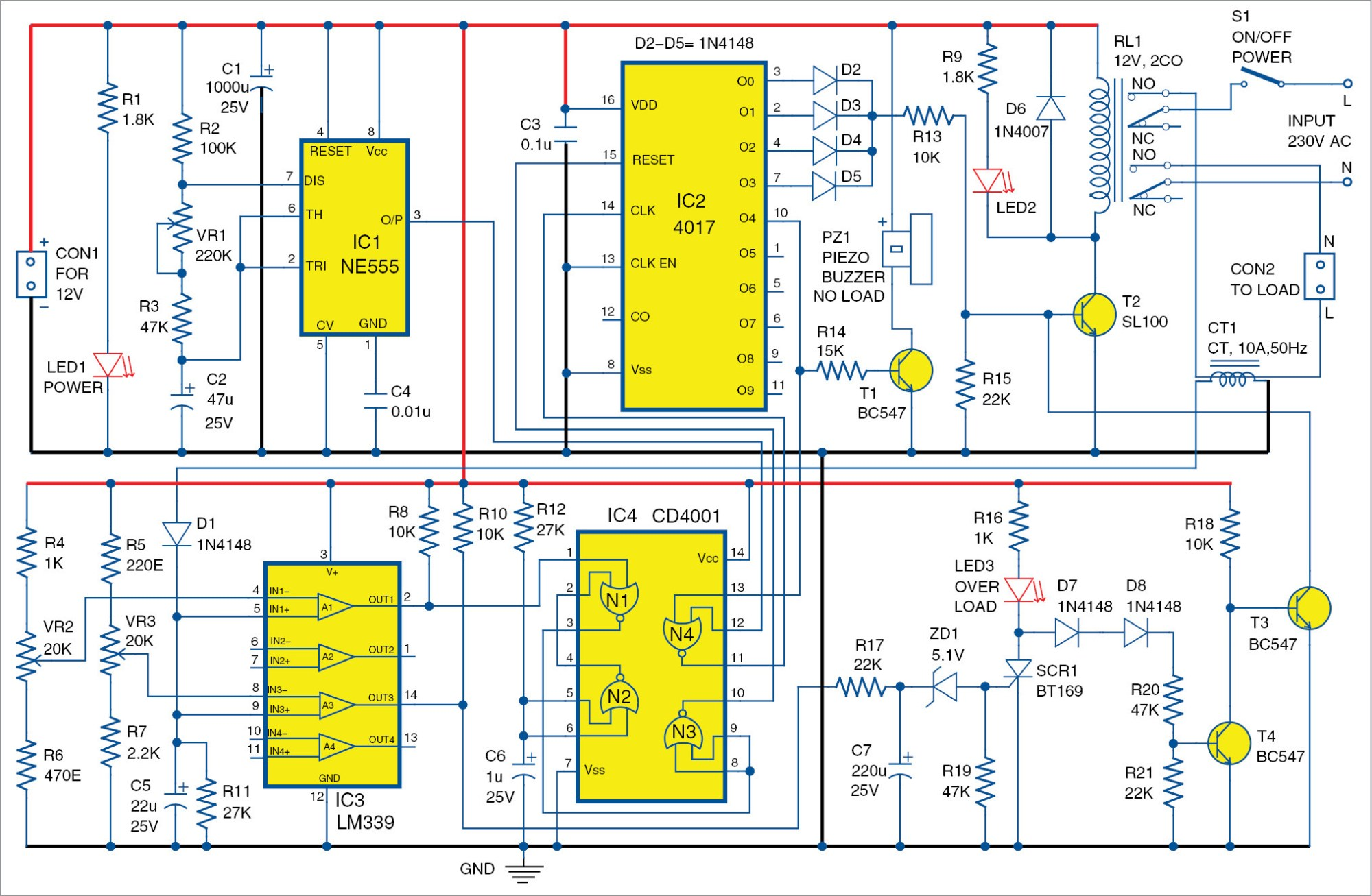hight resolution of no load and overload protector for ac motors full electronics project free circuit diagrams 4u power on time delay circuit
