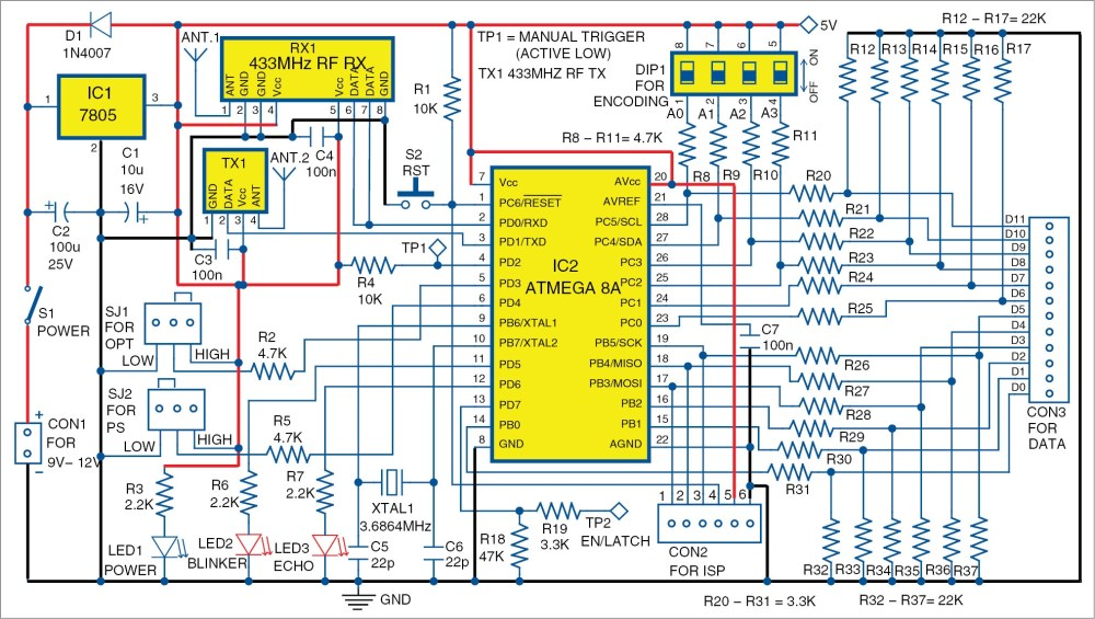 medium resolution of rf based 12 bit signal transmitter and receiver