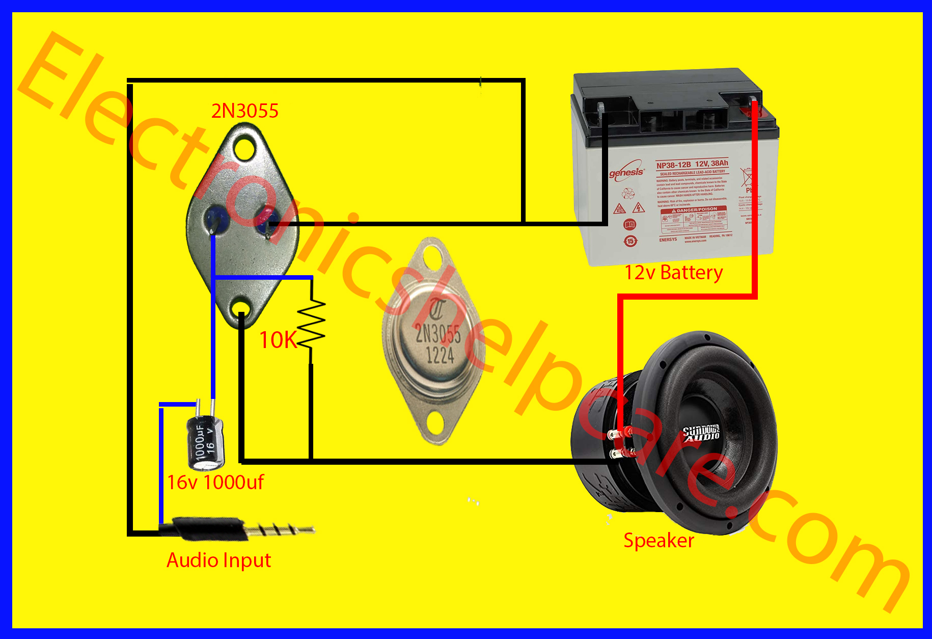 Easy Amplifier Circuit Diagram Using 2n3055 Only Electronics Help Care Genesis House Wiring