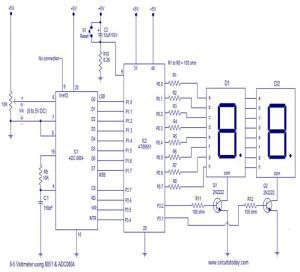 Voltmeter using 8051 | Electronics Junction