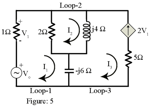 mesh analysis example with solution for ac circuit