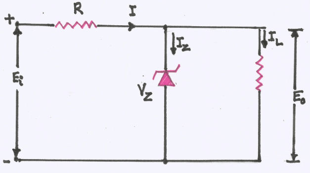 Explain with a circuit diagram, the use of a Zener diode