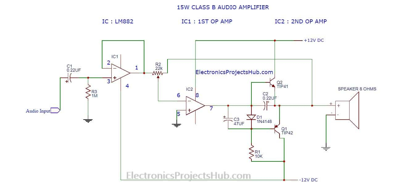 12v Amplifier Circuit Diagram Schematic Diagrams Simple Audio Circuits Make 15w Electronics Projects Hub 12 Volt
