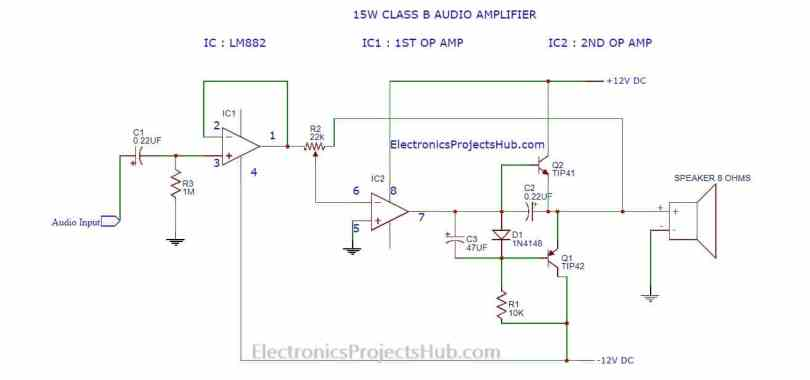 Make 15w Simple Audio Amplifier Electronics Projects Hub