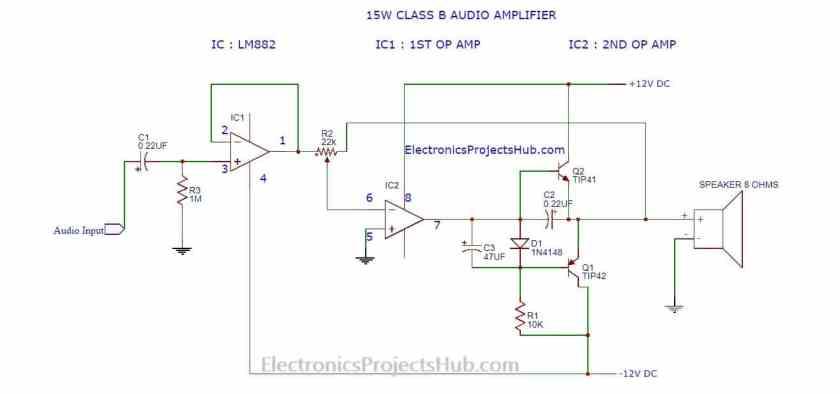 15w simple audio amplifier circuit