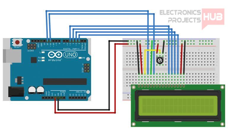 Arduino 16x2 LCD Tutorial - Electronics Projects Hub