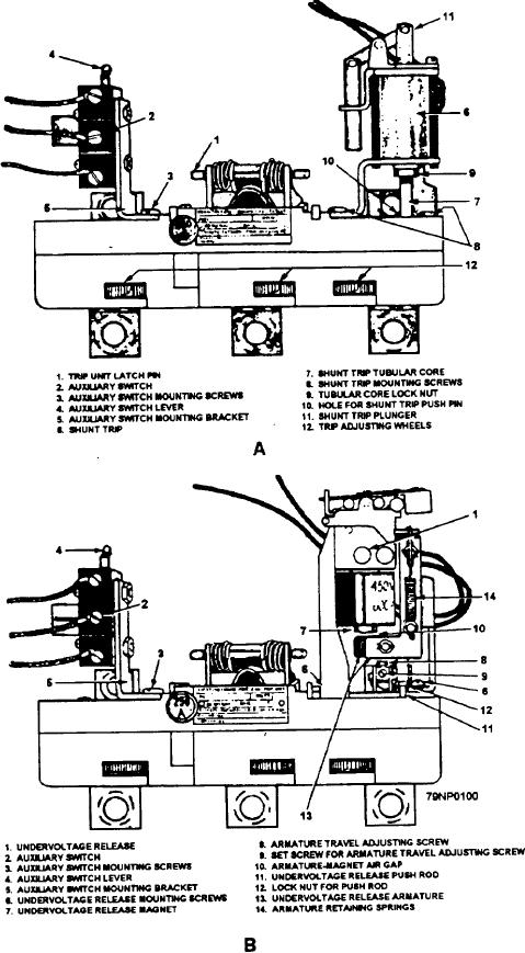 Figure 2-53.--AQB-A250 trip unit; (a) with shunt trip and