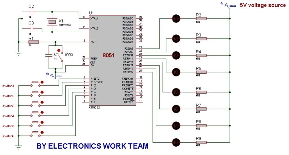 medium resolution of circuit diagram 8051 microcontroller wiring diagram user circuit diagram of interfacing leds to 8051 microcontroller wiring