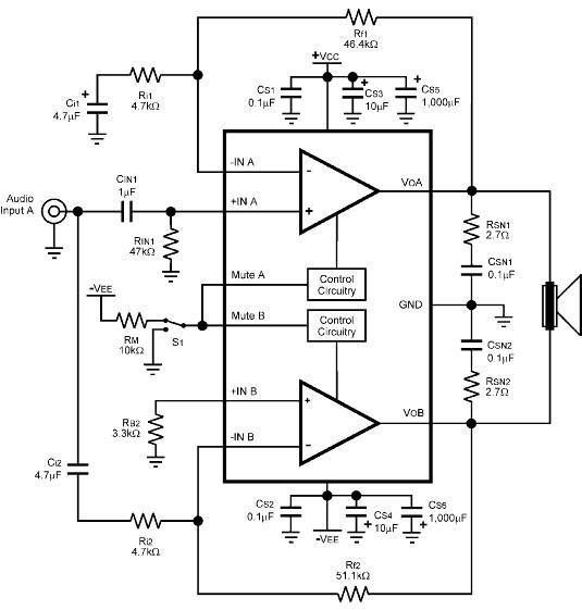 LM4780 audio amplifier circuit